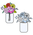 line style floral bouquet in a maison jars vector image vector image