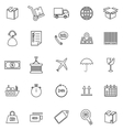 Logistics line icons on white background vector image