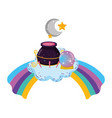 magic witch cauldron with crystal ball in rainbow vector image vector image