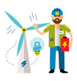 man wind power flat style colorful cartoon vector image