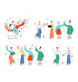 men women wave hand high five shake hands vector image vector image