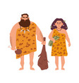 pair of primitive archaic man and woman dressed in vector image
