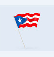 puerto rico flag on flagpole waving in wind vector image