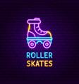 retro roller skates neon label vector image vector image