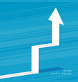 rising white 3d arrow on blue background vector image vector image