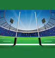 rugby field with bright stadium vector image vector image