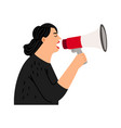 screaming woman with bullhorn vector image vector image