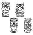 set tiki tribal wooden mask design element vector image