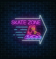 skate zone glowing neon sign with guide arrow on vector image vector image