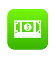 stack of money icon digital green vector image