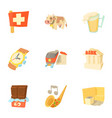 switzerland icons set cartoon style vector image vector image