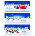 three holiday christmas and new year banners vector image vector image