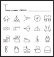 Travel Element Line Icon Set 6Camping thin icons vector image