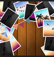Travel photo collage on wooden background vector image