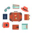 travel symbols set with touristic elements vector image