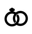 wedding rings silhouette vector image