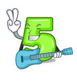 with guitar number five isolated on the mascot vector image