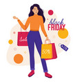 woman with bags on black friday and on sale vector image vector image
