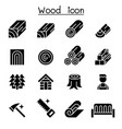 wood icon set vector image