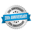 20th anniversary round isolated silver badge vector image vector image