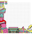 90s card patch vintage fashion grid background vector image