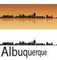 Albuquerque skyline in orange background vector image vector image