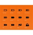 Battery icons on orange background vector image vector image