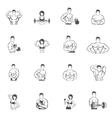 Bodybuilding fitness gym icons black vector image