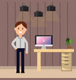 businessman office desk computer plant and lamps vector image