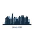 charlotte skyline monochrome silhouette vector image vector image