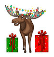 Christmas theme with reindeer and presents vector image vector image