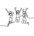 continuous line drawing group girls jumping vector image vector image