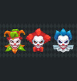 creepy clown faces set spooky halloween masks vector image