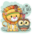 cute cartoon tribal lion and owl vector image vector image