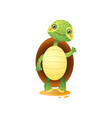 cute kawai turtle welcoming isolated on white vector image vector image
