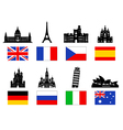 Europe Travel Landmarks icon set vector image