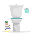 flat toilet with a roll of toilet paper vector image