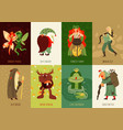forest fairy tale characters cards set vector image