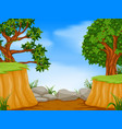 forest scene with mountain cliff vector image