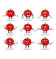 funny tomato character set cartoon design vector image