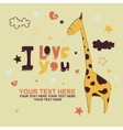 greeting card with giraffe vector image vector image