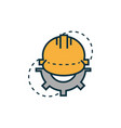 helmet gear work tools engineering icon vector image