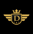 letter d shield wing vector image vector image