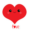 love red heart face head cute cartoon kawaii vector image vector image