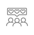 people with hearts in chat bubble line icon vector image vector image