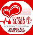 poster of heart and blood donation vector image vector image