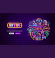 retro style neon banner design vector image vector image