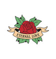 rose tattoo template with wording eternal love vector image vector image