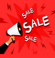 sale background with hand holding the megaphone vector image