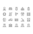 set funeral line icons church crypt vector image